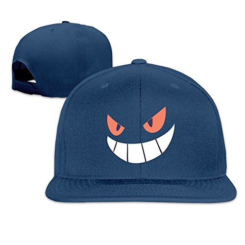 (Gengar Halloween Face Snapback Cap Flat Bill Baseball Hat)