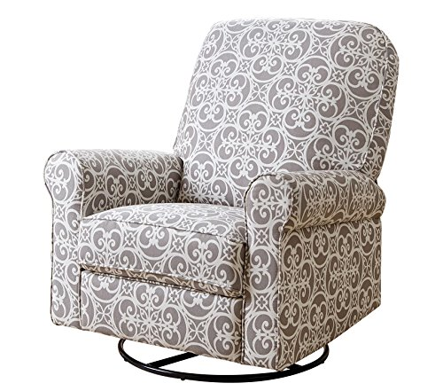 Abbyson Ariella Fabric Swivel Glider Recliner Chair, Grey Floral