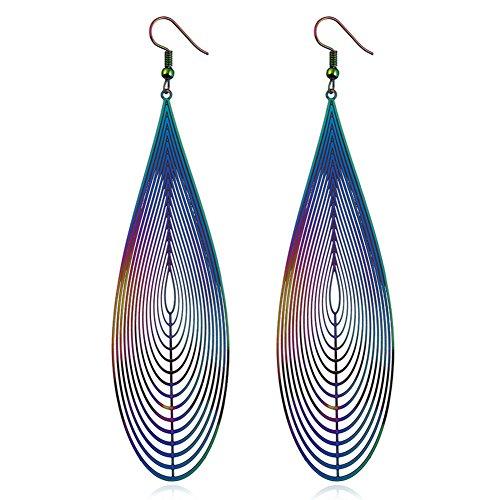 ALoveSoul Lightweight Geometric Earrings - Colored Hollow Metal Symmetrical Feather Earrings for Women Fashion Earrings Statement Dangle Earrings