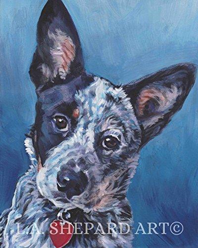 An Australian Cattle Dog Blue Heeler art portrait print of an LA Shepard painting 8x10