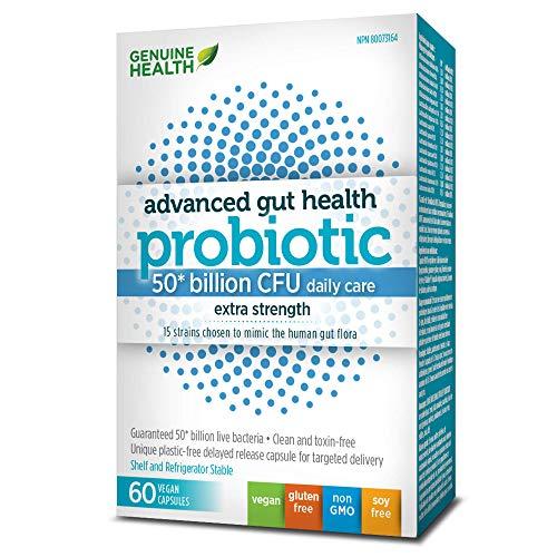 Genuine Health Advanced Gut Health Probiotics 50 Billion CFU   15 Diverse Strains   Non GMO   Gluten Free   Soy Free   Dairy Free   Vegan Delayed-release Capsules   60 Count