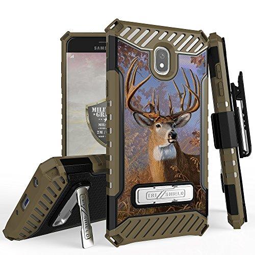 for 5.5'' Samsung Galaxy J7 2018/J7 Aero/J7 Top/J7 Aura/J7 Crown/J7 Refine/J7 Eon/J7 Case Holster Phone Case Belt Clip Kick stand Card Slot Hybrid Armor Cover (Buck) by 6goodeals