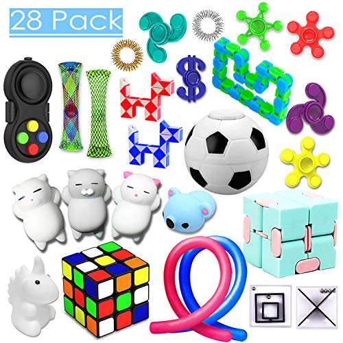 28 Pack Sensory Toys Set, Relieves Stress and Anxiety Fidget Toy for Children Adults, Special Toys Assortment for Birthday Party Favors, Classroom Rewards Prizes, Carnival, Piñata Goodie Bag Fillers ()