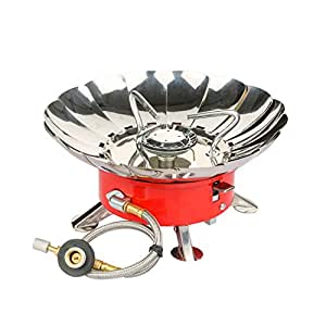 Etekcity E-gear Portable Collapsible Windproof Backpacking Gas Camping Stove (Orange)