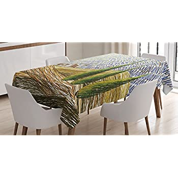 Tuscan Decor Tablecloth By Ambesonne, Van Gogh Style Italian Valley Rural  Fields With European Scenery