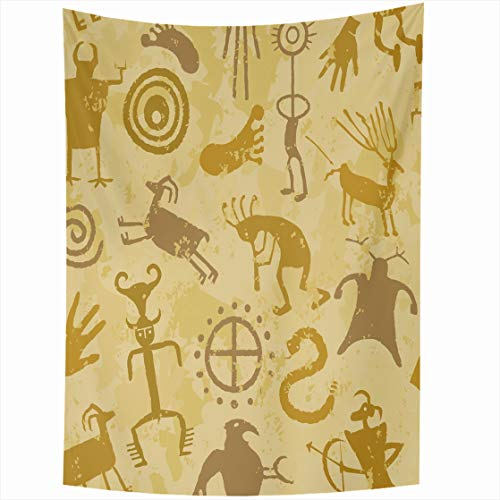 (Ahawoso Tapestry Wall Hanging 60x90 Southwestern Brown Kokopelli Cave Painting Pattern Tan Snake Western Hieroglyphs Tribal Design Home Decor Tapestries Decorative Bedroom Living Room)