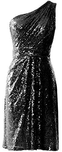 Sequin Bridesmaid Formal Shoulder Black Women One Gown Wedding Short Dresses Macloth oexWdBrC