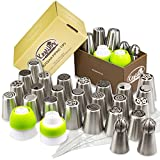 KESTILOS Cake Decorating Nozzle Set, Stainless Steel Russian Piping Tips Plus 2 Sphere Balls, 2 Couplers and 5 Disposable Pastry Bags to Make Icing Decorations