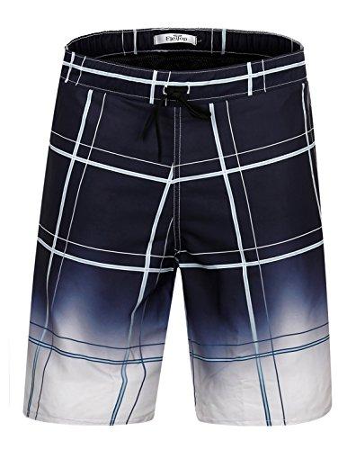 ELETOP Men's Swim Trunks Quick Dry Board Shorts With Mesh Lining Plaid Pattern YN214 - Swimwear Mens Mesh