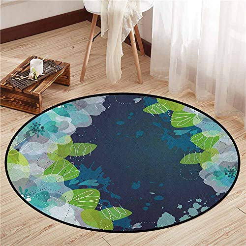 - Living Room Area Round Rugs,Navy,Sketchy Abstract Blossoms Flowers with Leaves on Grunge Backdrop,Ideal Gift for Children,3'7