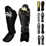 KINGTOP Top King Shin Guard Protector for Protection in Muay Thai, Boxing, Kickboxing, MMA (Black/Black,M)