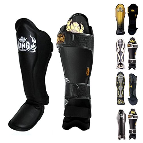 Top King Shin Guard Protector for Protection in Muay Thai, Boxing, Kickboxing, MMA (Black/Black,L)