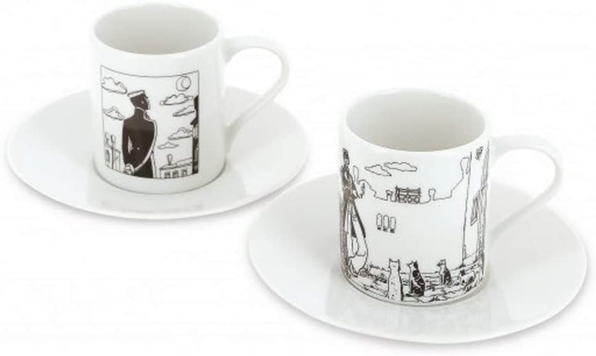 479821 Moulinsart Set of two espresso cup and saucer Corto Maltese in Venice