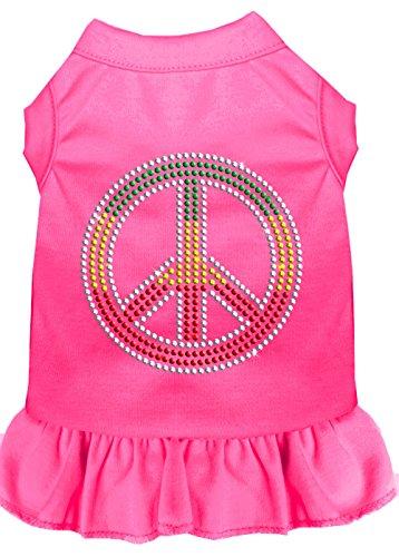 Mirage Pet Products 57-19 XSBPK Pink Rhinestone Rasta Peace Dress Bright, X-Small