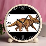 Alarm Clock, Bedroom Tabletop Retro Portable Clocks with Nightlight Custom designs Dinosaurs 21_Anchiceratops dinosaur