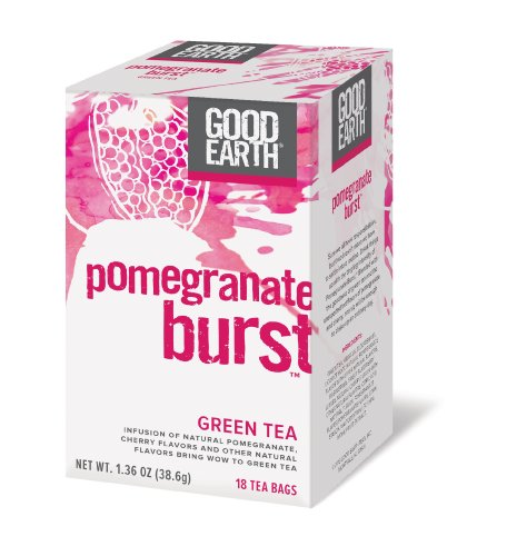 Good Earth Pomegranate Burst Green Tea, 18 Count Tea Bags (Pack of 6) - Good Earth Grocery
