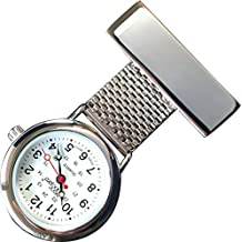 NW-Pro Lapel Nurse Watch - White Dial - Water Resistant - Braided Wide - Silver