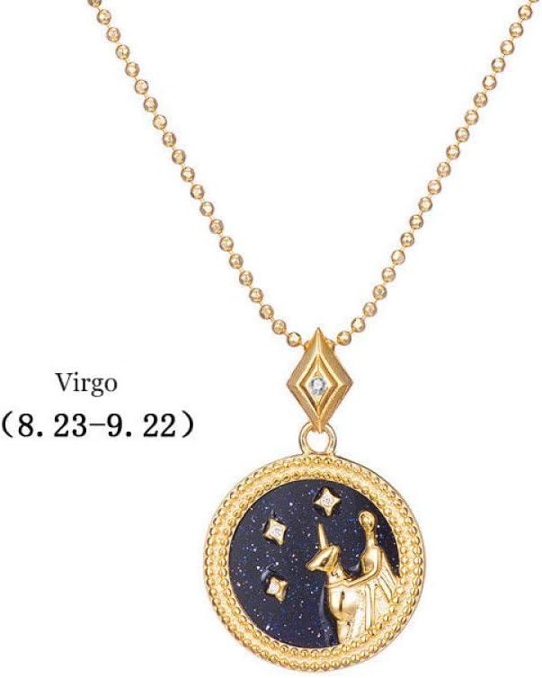 DDDDMMMY Collar Virgo de Plata de Ley 925 con 12 Constelaciones, Exclusivo Collar Original de Piedra Arenisca Zodiacal para Mujer