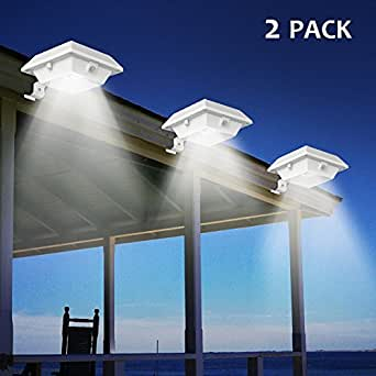 Solar Gutter Lights, T-SUNRISE 6 LED Beads Solar PIR Motion Sensor Security Wall Light for Outdoor Garden, Fence, Dog House, Tree, Stairs Anywhere Safety Lite with Bracket Pack of 2 (6000K White)
