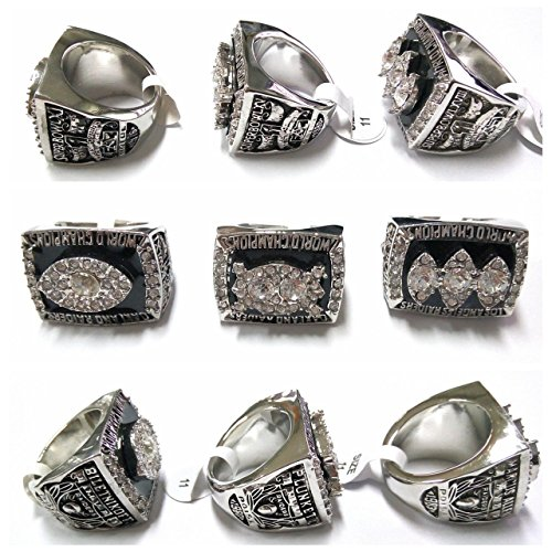 Oakland Raiders Championships - DY RINGS 1976 1980 1983 Oakland Raider Replic Championship Rings Us Size 11 on Sale (us11)