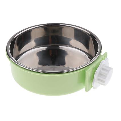 perfk Alimentador para Perros Colgantes Comedero Gatos Comedero Platos - Verde