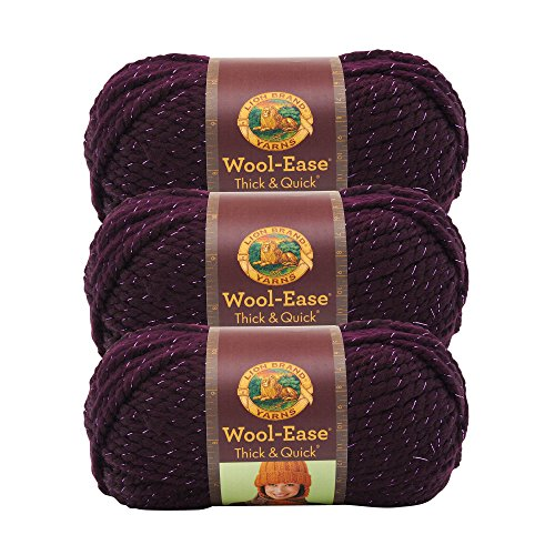 (3 Pack) Lion Brand Yarn 640-305 Wool-Ease Thick and Quick Yarn, 97 Meters, Galaxy