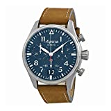 Alpina Startimer Pilot Chronograph Blue Dial Brown Leather Mens Watch AL-372N4S6