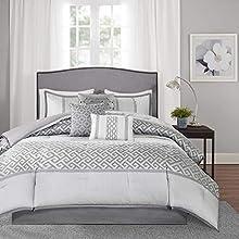 Madison Park Bennett 7 Piece Comforter Set, Grey, King