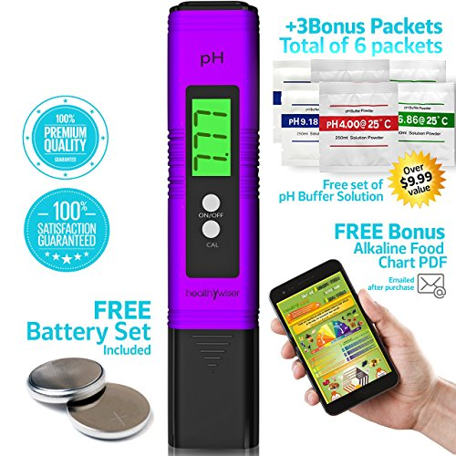 Digital pH Meter 6 Set of pH buffer powder + Bonus Alkaline Food Chart PDF, pH Pen Tests Water, Aquarium, Pool, Hydroponics, Auto Calibration Button, with ATC, 0.00-14.00 pH Measurement Range, Purple