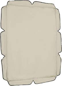YARDWE Patio Waterproof Swing Seat Cushion Sunshade Cover Replacement Polyester Canopy Protector for Outdoor, Two-seat 55×47 Inch (Beige)