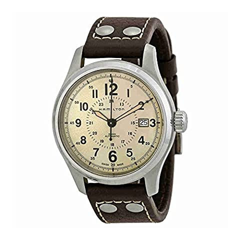 Hamilton Men's H70595523 Khaki Field Analog Swiss Automatic Brown Leather Watch (Hamilton Khaki Field Automatic)