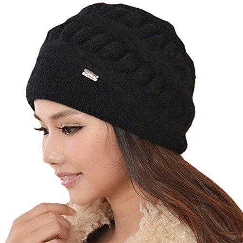Queenmart New Style Women's Soft Angora and Wool Blend Knitted Beanie Cap Hat-Black - Womens Angora Blend