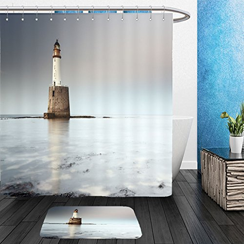 Vanfan Bathroom 2 Suits 1 Shower Curtains &  1 Floor Mats rattray head lighthouse on the north east coast of scotland as the sun setting with the tide coming 113195323 From Bath room (Halloween Central Coast)
