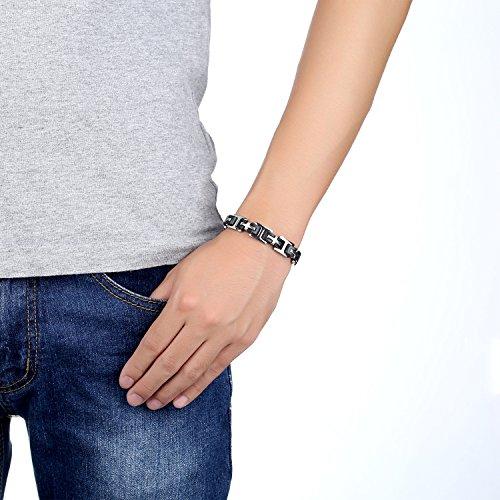 Ostan Bijoux Hommes 316L Acier inoxydablel Cuff Bracelet Bangle - Argent et Noir