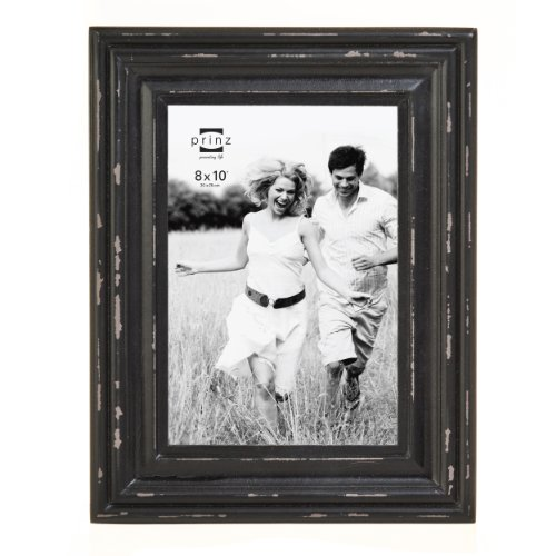 Prinz Carson Distressed Black Wood Frame, 8 by 10-Inch - Black Wood Distressed Picture Frames