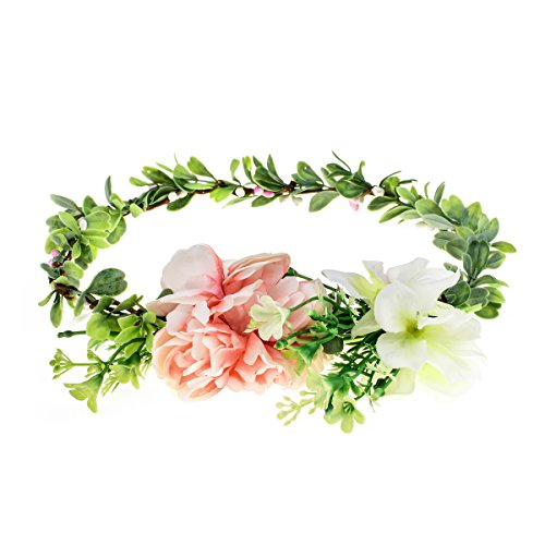 Floral Fall Adjustable Bridal Flower Garland Headband Flower Crown Hair Wreath Halo F-83 (Y-Green Pink Rose)
