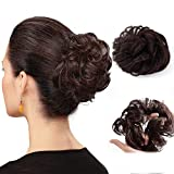 Synthetic Hair Bun Extensions Messy Hair Scrunchies Hairpieces for Women Wavy Curly Messy Donut Chignons Ponytail (Dark Brown)