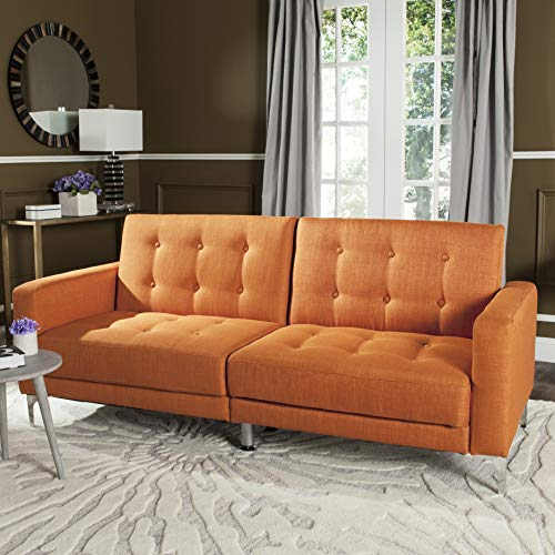 Soho Metal Bed - Safavieh Livingston Collection LVS2000A Soho Orange Tufted Foldable Sofa Bed