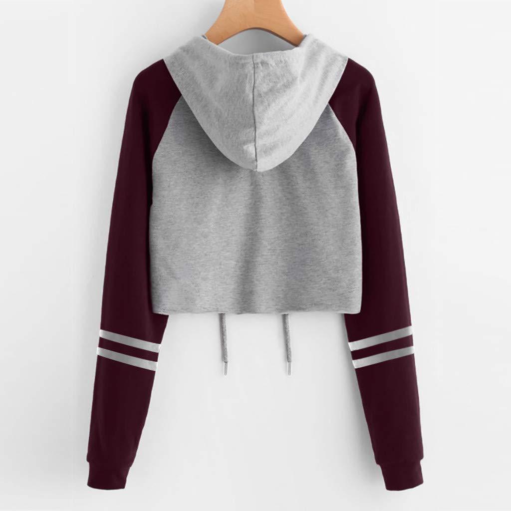 Womens Sweatshirt Long Sleeve Hoodies Drawstring Hood Sweater Casual Blouse Tops Pullover