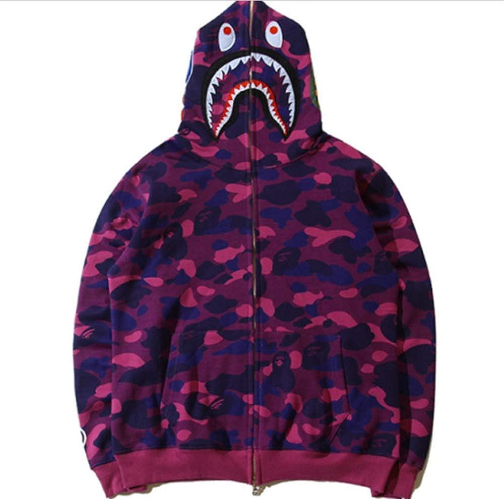 Hot Bathing Ape Bape Shark Jaw Camo Full Zipper Hoodie Mens Sweats Coat Jacket