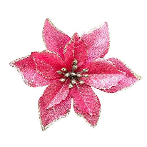 Christmas Glitter Poinsettia Christmas Tree Ornaments Pack Of 12 ()