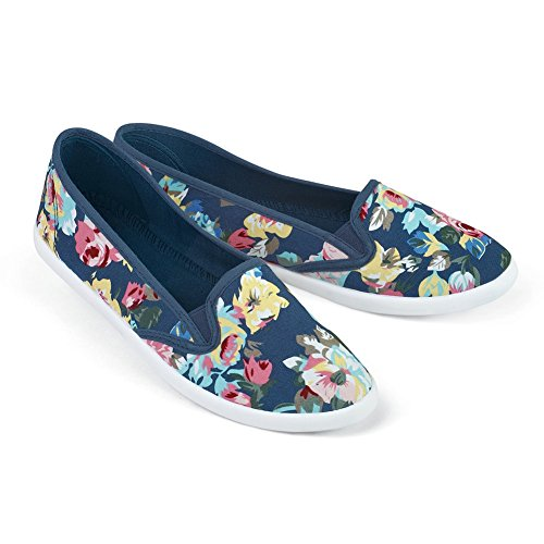 Floral Printed Slip Sneakers Cotton