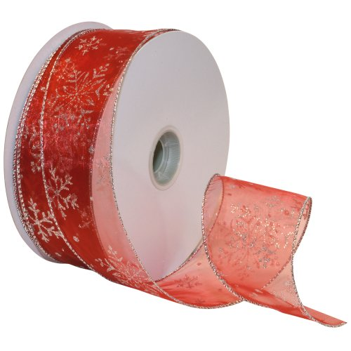 Morex Ribbon Snowflake Wired Sheer Glitter Ribbon, 2-1/2-Inch by 50-Yard Spool