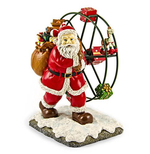 Animated Musical Figurine (Joyful Animated Santa Clause with Toys and Ferris Wheel Musical Figurine)