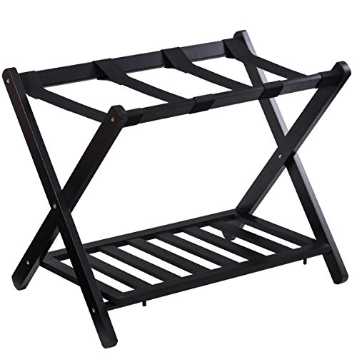 Folding Luggage Rack with Shelf Travel Suitcase Shoe Storage Holder Wood Stand -
