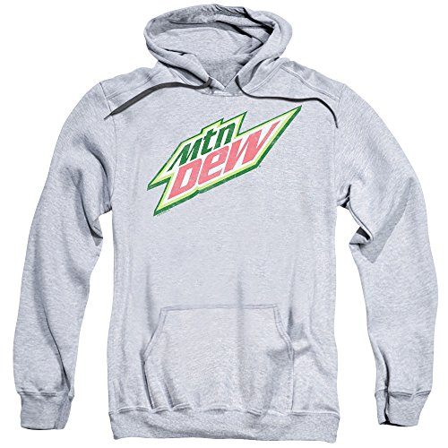 Trevco Mountain Dew Distress Logo Unisex Adult Pull-Over Hoodie For Men and Women