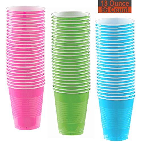 18 oz Party Cups, 96 Count - Hot Pink, Lime Green, Aqua - 32 Each Color