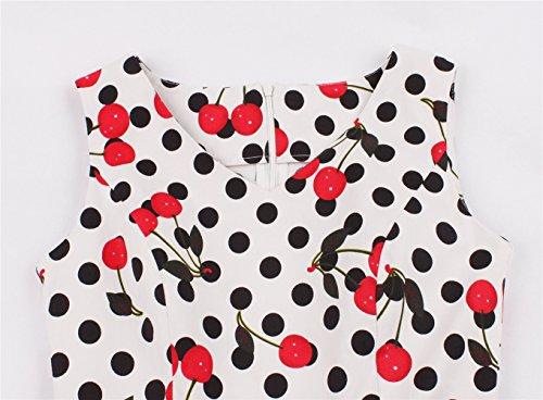 con Retro Cuello Novia Mujer Cereza los V Hepburn Banquete Vestido Estilo de Plisado para 50 Estampado Vestido de en Floral años de con GAESHOW de Noche XP8qU