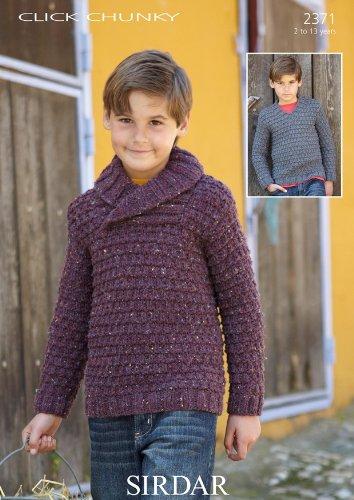 a9fa92264 Sirdar Click Chunky Boys Wrap-Neck Sweater Knitting Pattern 2371  Amazon.co. uk  Kitchen   Home