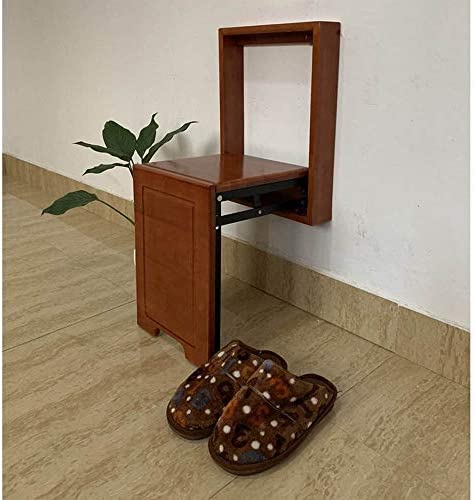 収納ベンチ ウォール目に見えない靴ドア靴スツールソリッドウッドミニ靴スツール壁掛け折りたたみ壁掛け靴 柔軟 多用途 (Color : Brown, Size : 44x7x28cm)